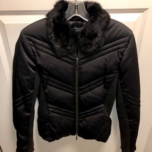 Guess Woman's black jacket faux fur neck, Size S
